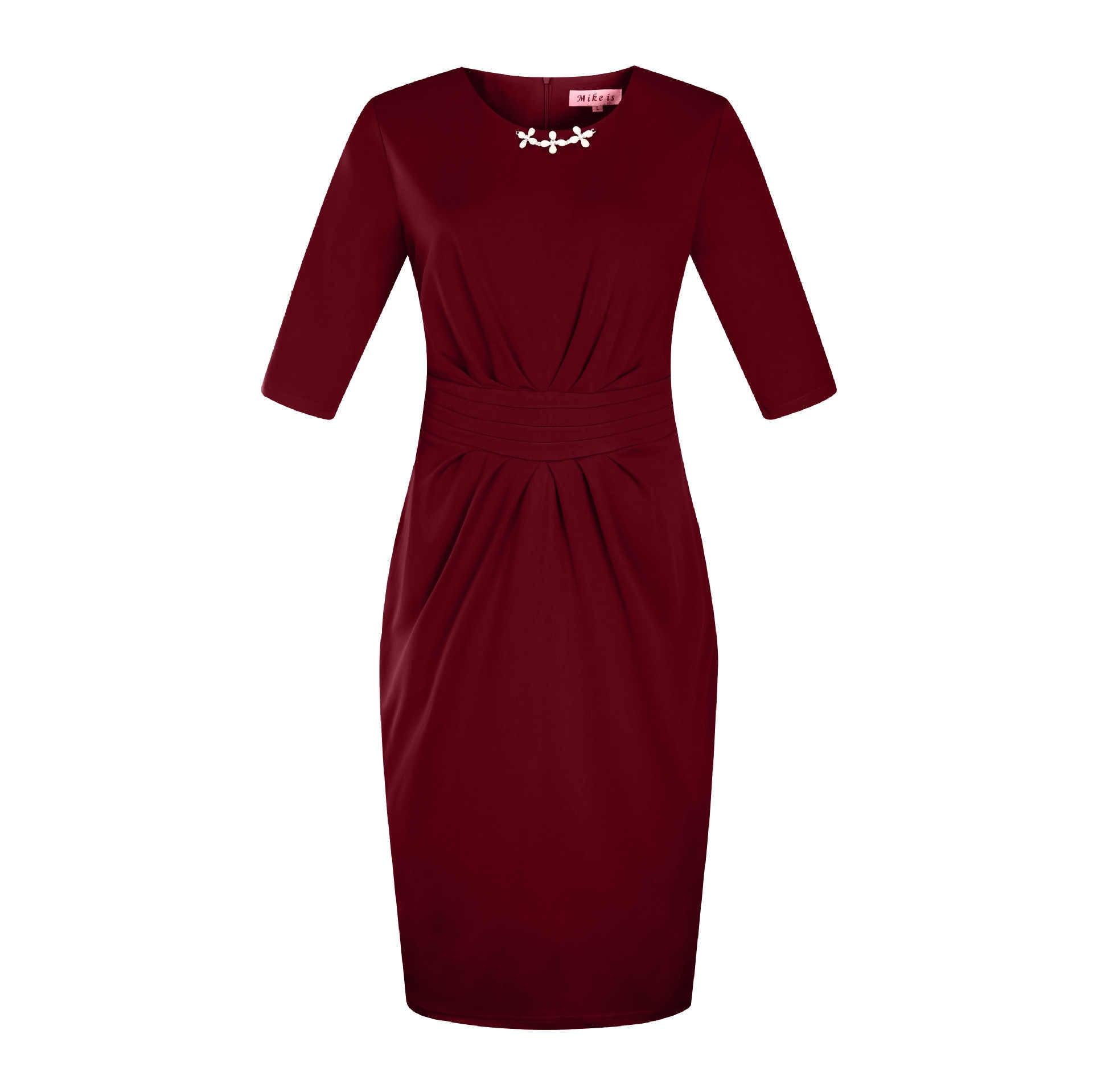 Ladies Pencil Dress Autumn 2017 Fall Beading Solid Vestidos Zipper Knee Length OL Work Cloth Plus Size Woman Dress 4XL 5XL 6XL