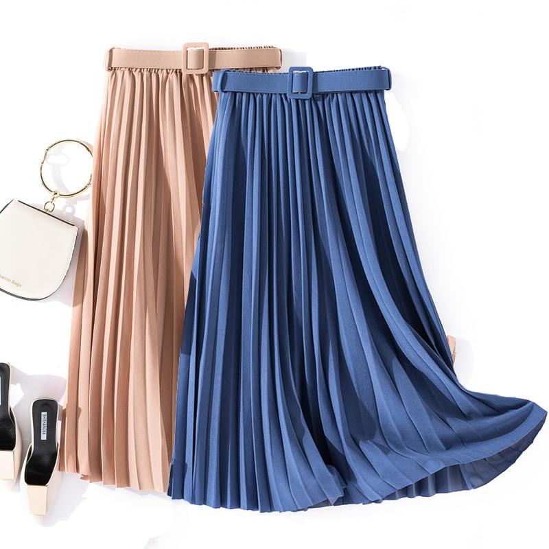 Autumn Summer Women Vintage Elegant Midi Skirt With Belt 2020 Women High Waist Pleated Skirts Womens Lady Casual Skirts Female