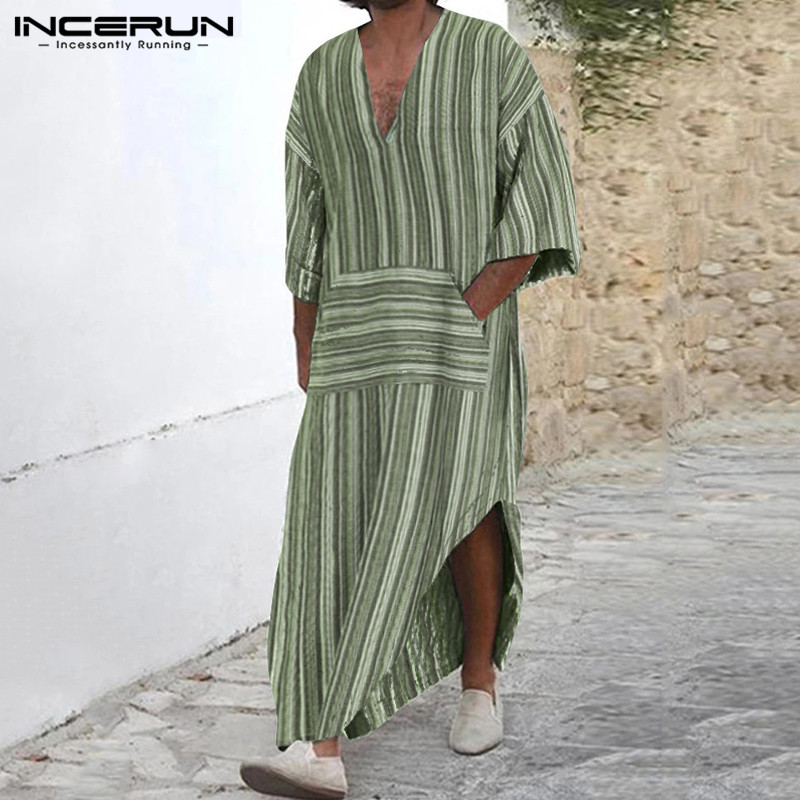 INCERUN Cotton Vintage Men Striped Robes Islamic Clothes Loose Pockets Long Sleeve Saudi Arabia Men Jubba Thobe Muslim Kaftan