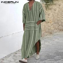 INCERUN Cotton Vintage Men Striped Robes Islamic Clothes Loose Pockets Long Sleeve Saudi Arabia Men Jubba Thobe Muslim Kaftan