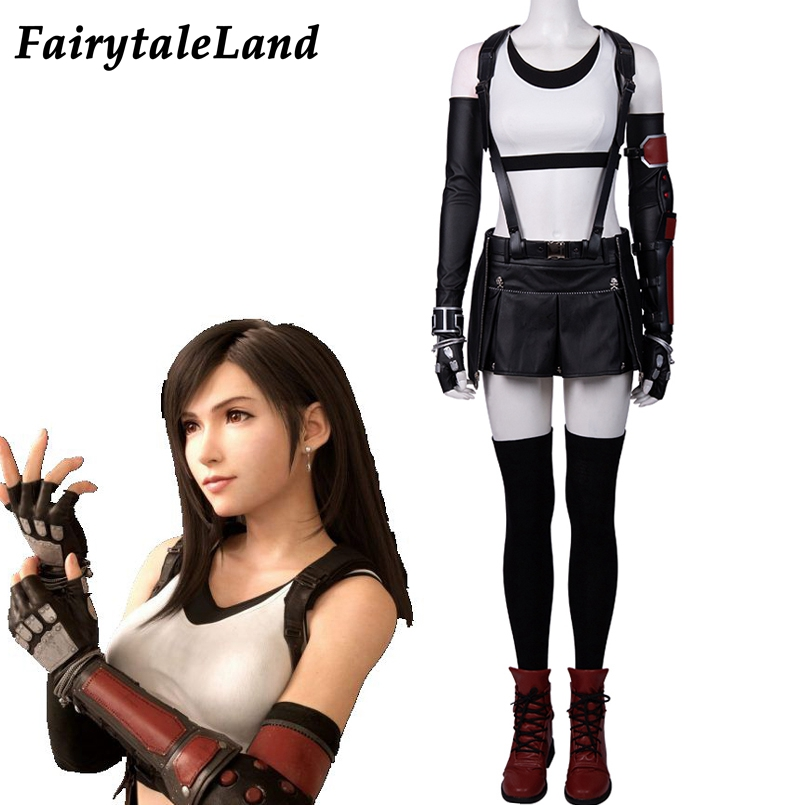 Tifa Lockhart Cosplay Suit Final Fantasy VII Remake Tifa Cosplay Costume Skirt Halloween Sexy Strap Shirt FF7 Tifa Outfit Props