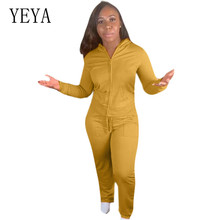 YEYA Casual Two Pieces Sets Long Sleeve Hoodies Zipper Top and Pockets Pants Elegant Red Yellow Rompers Womens Jumpsuits Female