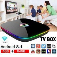 Android 9.0 nero Smart TV Box 4GB 64GB Q Plus H6 WiFi Quad Core 4K HD YouTube Google Media Player TV Box H.265