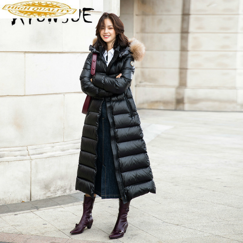 90% White Duck Down Jacket Women Clothes 2019 Winter Coat Women Raccoon Fur Collar Korean Puffer Jacket Women Parka 2123 YY2033