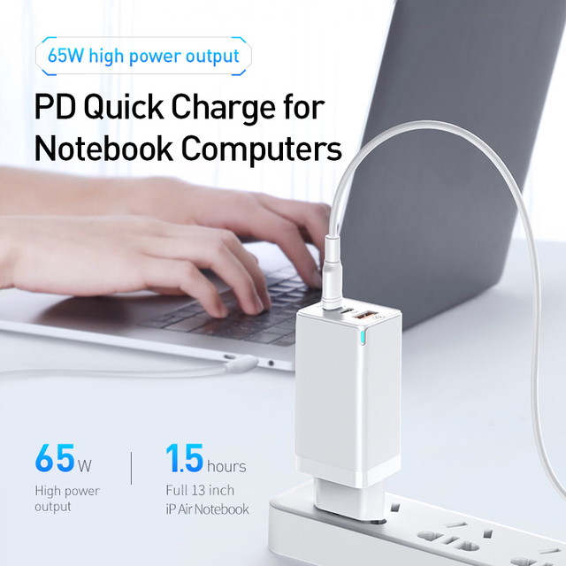 Baseus GaN 65W USB C Charger Quick Charge 4.0 3.0 QC4.0 QC PD3.0 PD USB-C Type C Fast USB Charger For iPhone 12 Pro Max Macbook 2