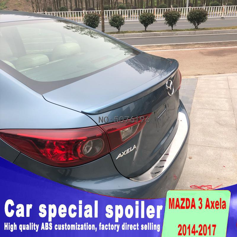 For Mazda 3 <font><b>RX8</b></font> 2014-2017 Spoiler ABS Plastic Unpainted Color Rear Roof Spoiler <font><b>Wing</b></font> Trunk Lip Boot Cover Car Styling image