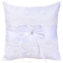 Botique-Wedding Ring Pillow French Eyelash Lace Decoration Cushion Ring Bearer Pillow For Wedding Ring(China)