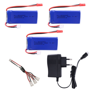 7.4v 1200mAh Lipo Battery with charger For Yizhan Tarantula X6 H16 RC Drone Quadcopter 2S 7.4V battery for WLtoys V666 V262 V323 image