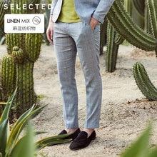 Отборные узкие брюки из смеси льна разных цветов клетчатые брюки S | 419218509