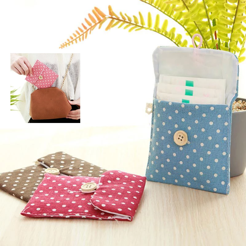 Women Mini Sanitary Towel Bag Storage Female Hygiene Girl Cotton Diaper Sanitary Napkin Package Coin Purse Jewelry Organizer