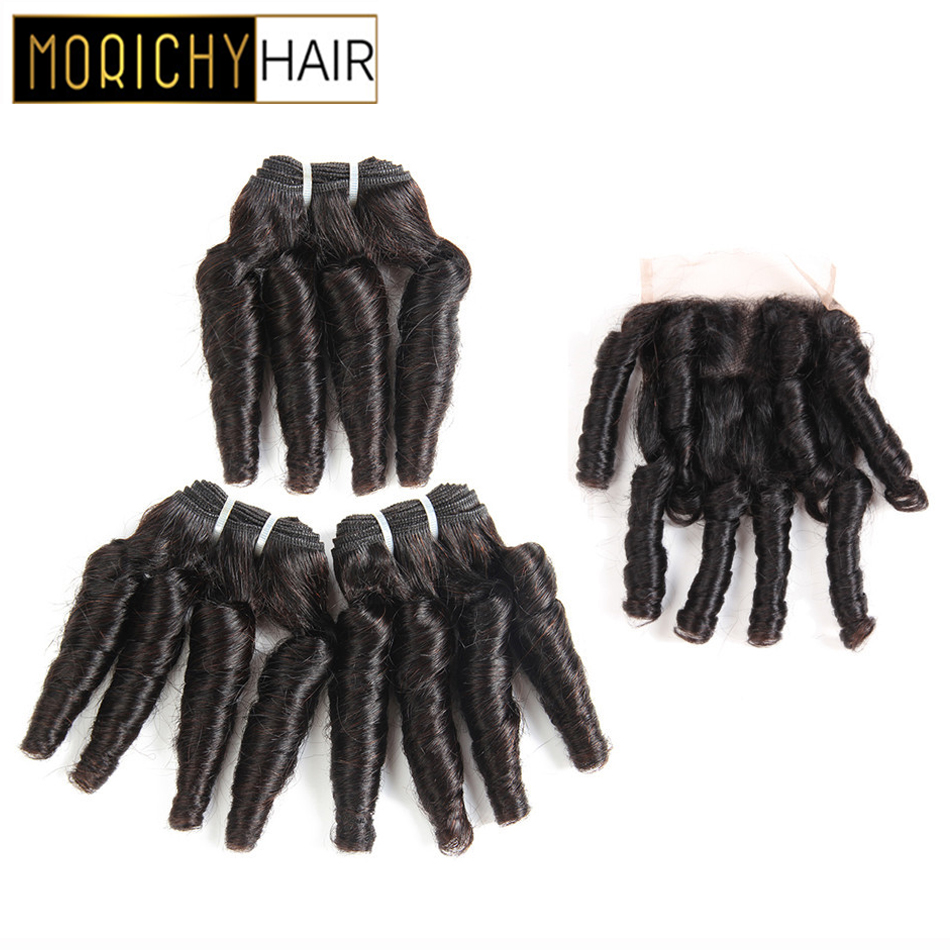 MORICHY Brailian Bouncy Curly Hair Bundls Funmi Hair Double Drawn Bundles With 4X4 Lace Closure Non-remy Black Human Hair