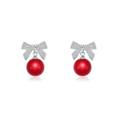 WEIMANJINGDIAN Neue Ankunft Red Simulierte Perle Dropped und Zirkonia CZ Kristall Bogen Ohrringe für Frauen