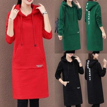 40# Winter Women Casual Dresses Fashion Famales Oversize Sportware Dress Lettering Sleeve Knee Length Hoodie Dress Белое Платье
