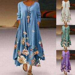 2021 повседневные Цветочный принт женское летнее Повседневное платье с круглым вырезом и длинными рукавами размера плюс длинное платье женс...