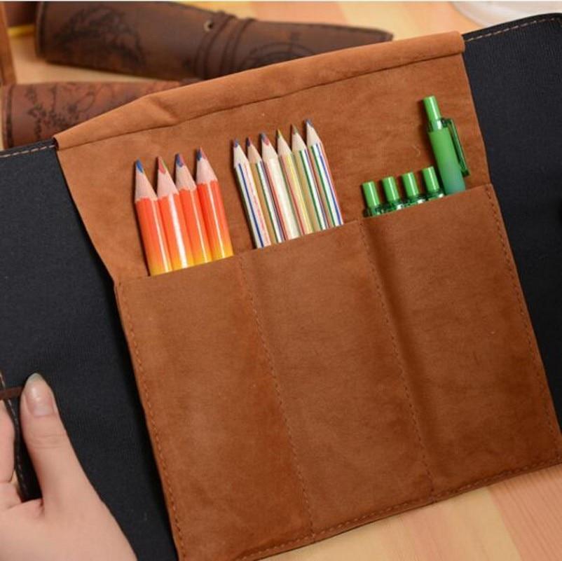 Купить с кэшбэком Pencil Box  Large Pencil Case Creative Retro Treasure Map Pencil Cases Luxury Roll Leather PU Pen Bag Pouch Pencil Case BD005A