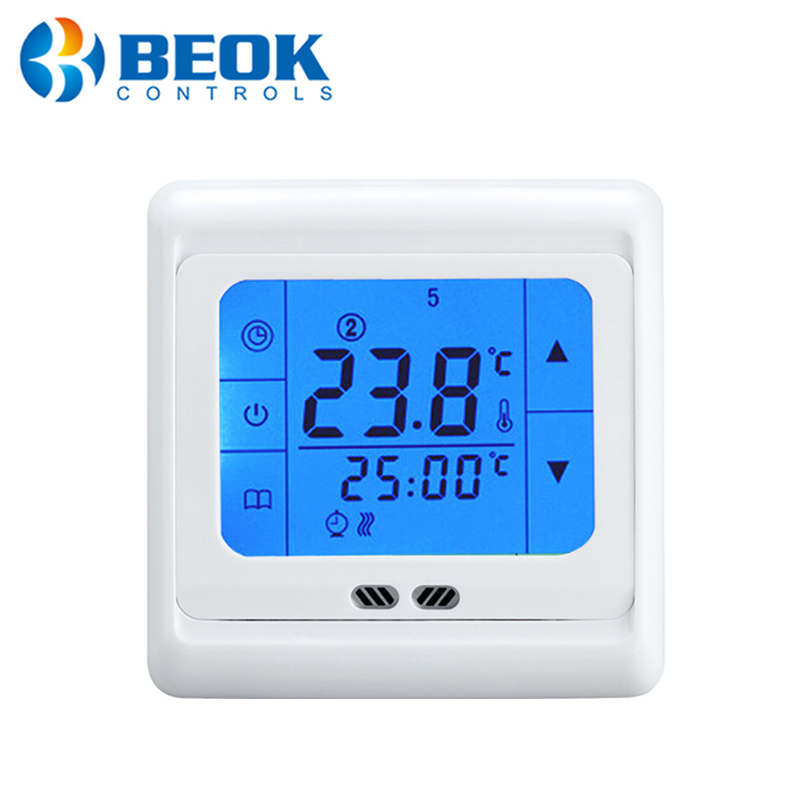 TST60-EP Vloerverwarming Regulator Met Wit, Blauw, Groen Backlight Touch Screen Thermostaat Warme Vloer Met Temperatuur 2 Sensoren