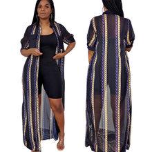 Summer Fashion Sexy and Transparent Women's Clothing, Print, Pocket, Gauze Casual Sunscreen Shirt Short-Sleeved Dress