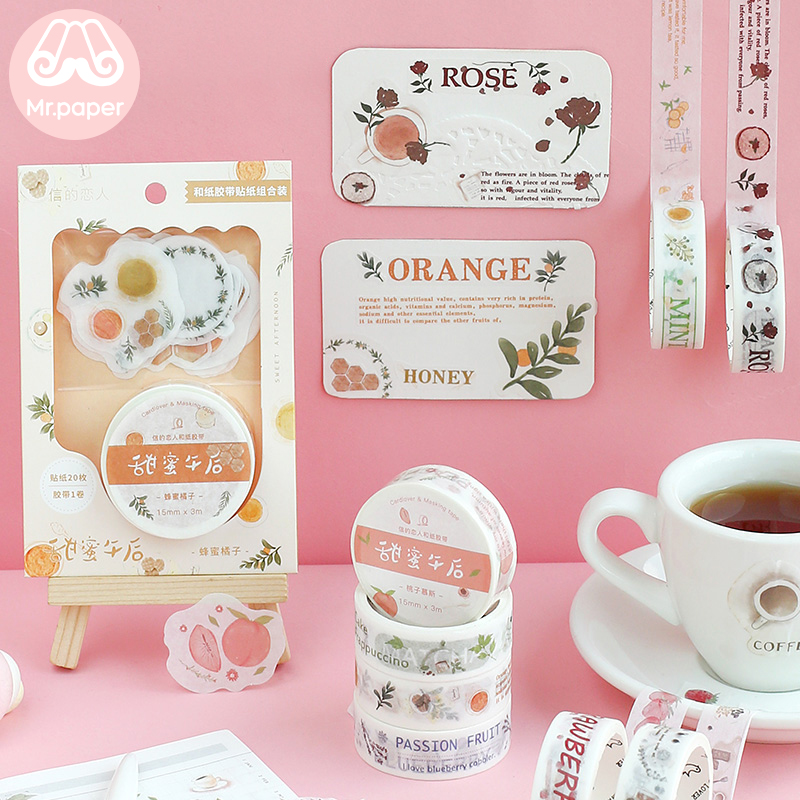 Mr Paper Gift Package Stickers Washi Tapes Set Decilious Strawberry Peach Lemon Fruit Snack Stickers Scrapbooking Masking Tapes
