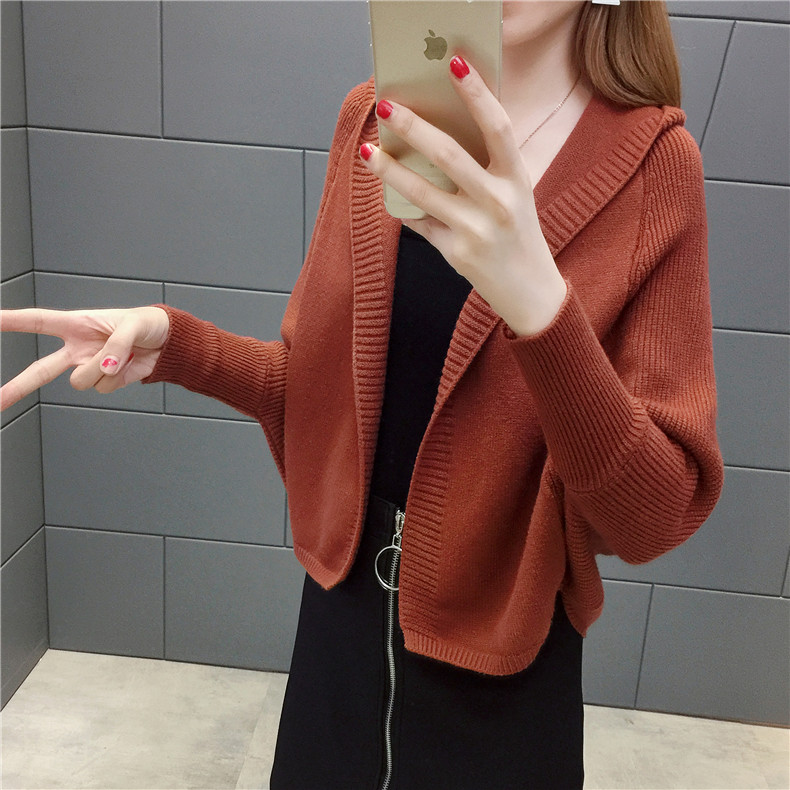 2019 Free send New style Korean loose and comfortable Autumn women Cardigan Sleeve of bat Hooded Sweater coat 108