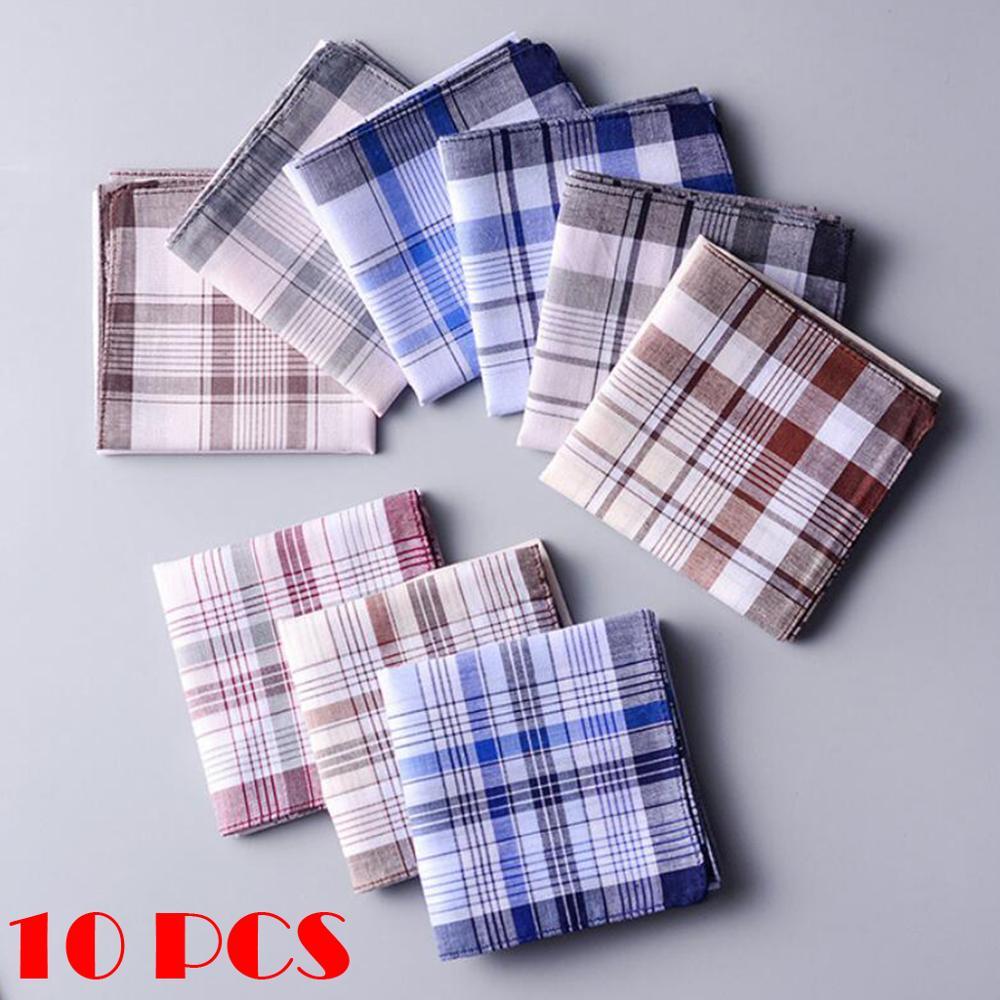 10pcs Men Plaid Handkerchiefs 100% Cotton With Stripe Hankies Gift Set Women Classic Plaid Handkerchief Pocket Hanky