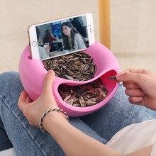 Bol à collation paresseux en plastique Double couche Snack boîte de rangement bol bol à fruits et support de téléphone portable
