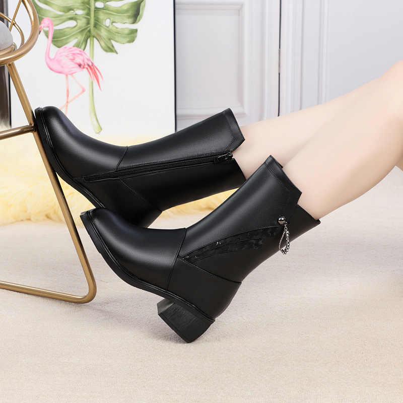 Fujin/шерстяные женские зимние ботинки; Теплая обувь из натуральной кожи для отдыха; модная теплая обувь на меху; Плюшевые ботинки; женские зимние ботинки на платформе