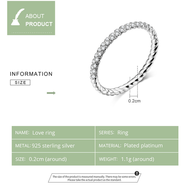 bamoer GXR624 Real 925 Sterling Silver Ring Zirconia Love Ring For Women Glitter Fine Jewelry Simple & Stylish OL Casual Style