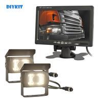 DIYKIT DC 12V 24V TFT LCD Monitor 2 x 4pin Night Vision CCD Rear View Camera System for Bus Houseboat Truck
