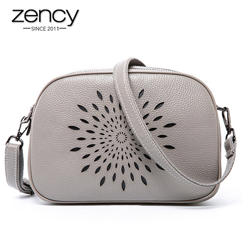 Zency 100% Genuine Leather Fashion Women Shoulder Bag Three Zippers Opening Daily Casual Messenger Bag Black Grey Tote Handbag