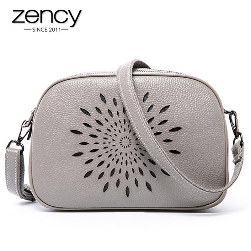 Zency 100% Genuine Leather Fashion Women Shoulder Bag Three Zippers Opening Daily Casual Messenger Bag Black Grey Tote Handbag