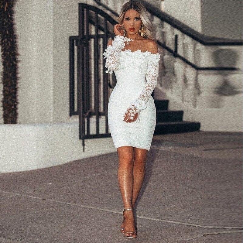 BacklakeGirls Sexy Boat Neck Full Sleeve White Lace Cocktail Dress Short Shealth Elegant Women Dress Vestido De Festa