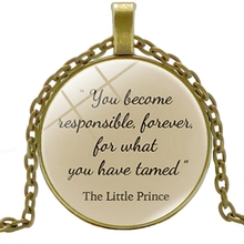 2019 New Accessories Childrens Literature Around The Little Prince Time Glass Round Necklace Alloy Pendant Jewelry
