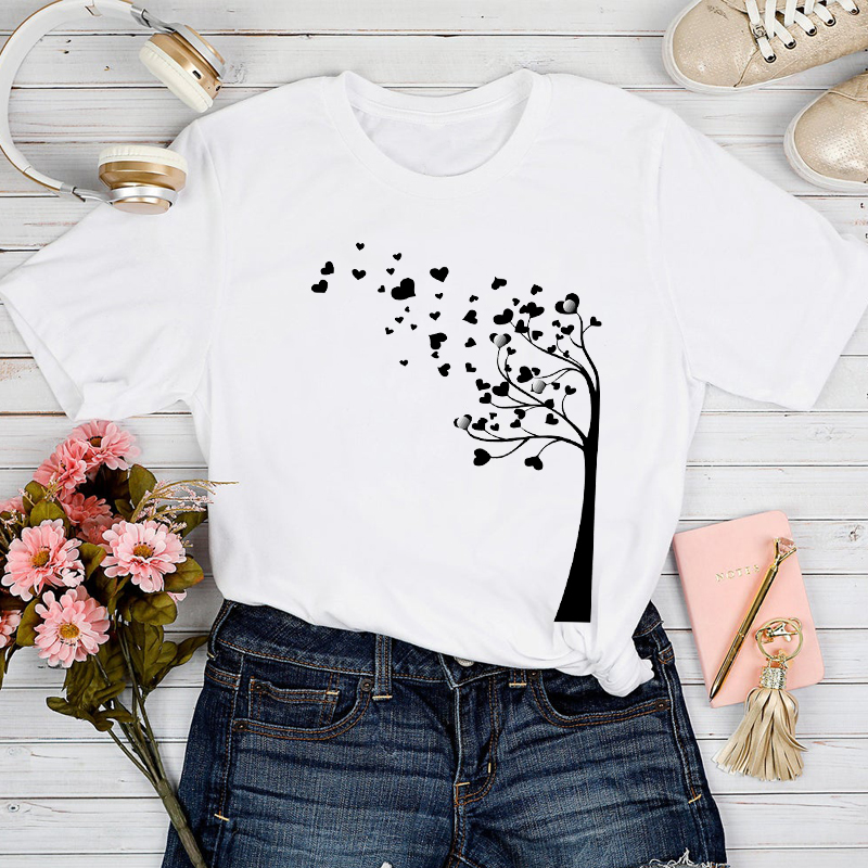 T-shirts Women 2021 Dandelion Love Plant Valentine Spring Summer Tshirt Top Lady Print Clothes Stylish Girl Tee T-Shirt