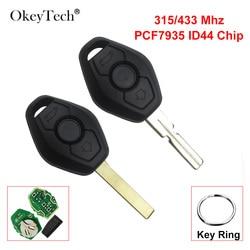 OkeyTech 3 przycisk 315/433 Mhz ID44 Chip zdalny kluczyk do BMW E46 E38 X3 X5 Z3 Z4 EWS System 3 5 7 seria Uncut HU58/92 ostrze
