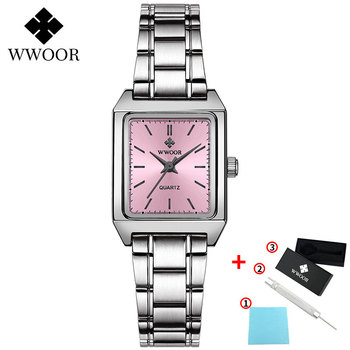 2020 WWOOR Top Brand Luxury Women Square Watches xfcs Genuine Leather Quartz Small Dial Wrist Watch Gifts For Women Montre Femme - Pink-G
