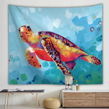 Watercolor Turtle Printing Wall Cloth Tapestries Ocean Style Bohemia Tapestry Wall Hanging Picnic Mat Beach Towel Shawl Blanket turtle ocean fish wall tapestry