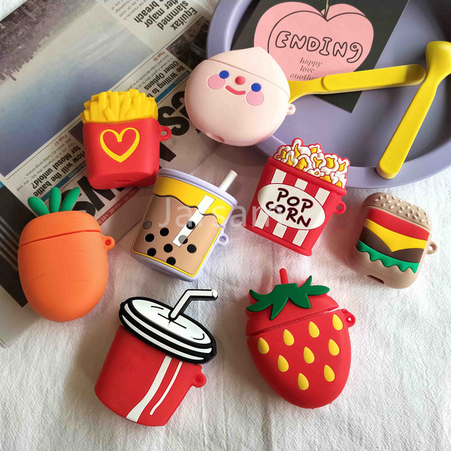 For Airpods 2 Case Silicone Stitch Cartoon Cover For Apple Airpods Case Cute Earphone 3D Headphone case Protective 4