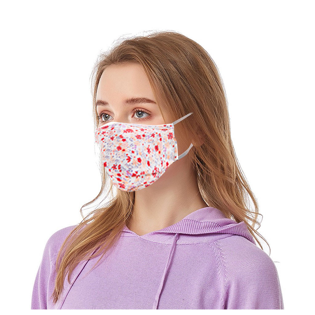 Adult Floral Print Adjustable Safet Face Mask Sun Protect Washable Reusable Three-Dimensional Mouth Mask Breathable