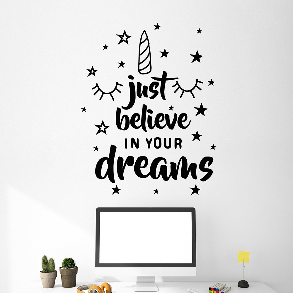 Cute just believe in your dreaihs Home Decoration Accessories For Kids Rooms Diy Home Decoration Vinyl Mural Decal