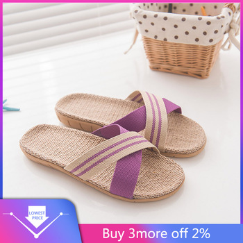 Women's Fashion Anti-slip Linen Home Indoor Open Toe Flat Shoes Beach Slippers image