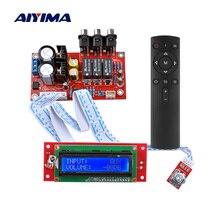 Aiyima m62446 6 채널 원격 제어 볼륨 제어 프리 앰프 lcd 디스플레이 5.1 오디오 볼륨 프리 앰프 ne5532 op amp for 5.1 amp