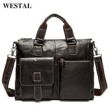 WESTAL men's bag genuine leather messenger bag men leather t