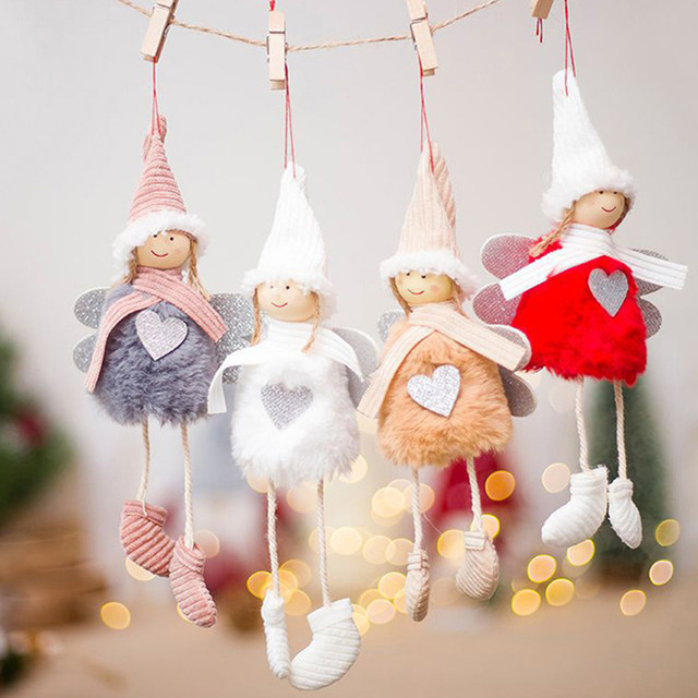 Happy New Year 2020 Latest Christmas Cute Silk Plush Angel Doll Xmas Tree Ornaments Christmas Decoration For Home Kids Gifts 19