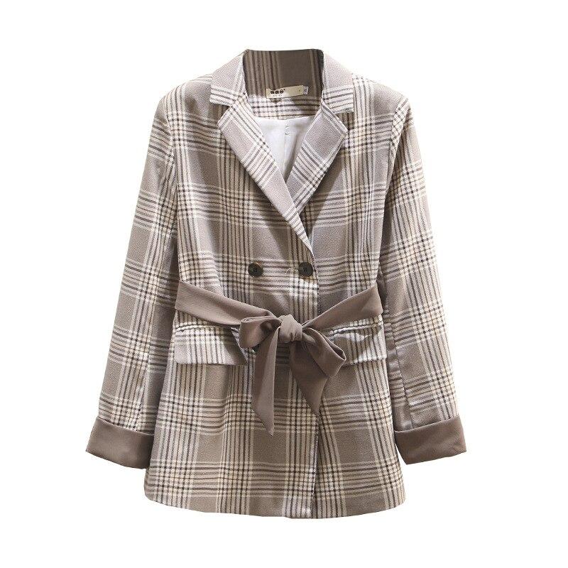 Large Size Women's Plaid Jacket High Quality 2019 New Casual Slim Long-sleeved Autumn Suit Jacket Female Office Female Blazer