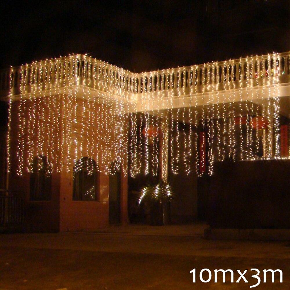 10m x 3M LED düğün parti patio dekor peri işık noel garland kısılabilir LED perde açık dize ışık ev için yeni yıl