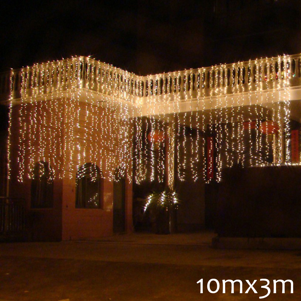 10mx3M LED Wedding Party Patio Decor Fairy Light Christmas Garland Dimmable LED Curtain Outdoor String Light For Home New Year