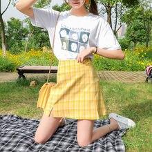 Женская клетчатая мини-юбка, трапециевидная короткая юбка-карандаш в Корейском стиле