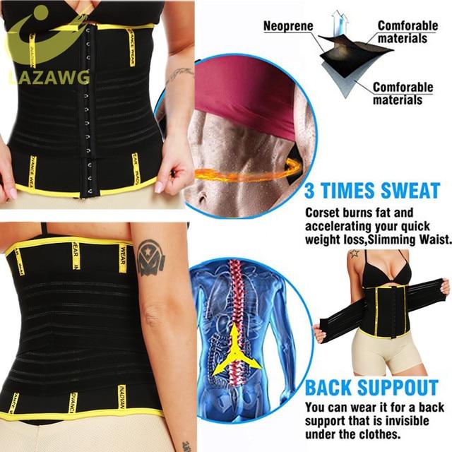 LAZAWG Waist Trainer Hot Neoprene Sauna Sweat Belt Seamless Body Shaper Waist Workout Girdle Double Closure Belly Cincher Sweat 2