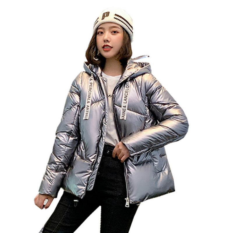FORERUN Female Puffer Jacket Women Hooded Winter Coat Solid Glossy Warm Bubble   Parka   Abrigos Mujer Invierno 2019 Chaqueta Mujer
