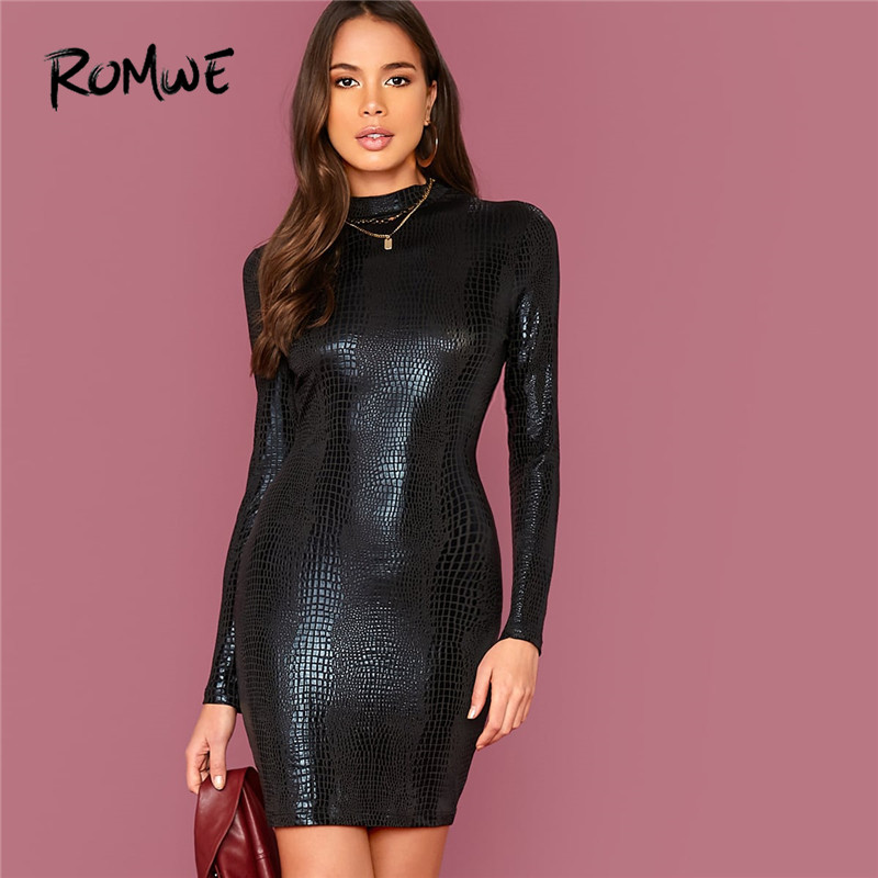 ROMWE Stand Collar Crocodile Embossed Bodycon Dress Women Fall Winter Solid Long Sleeve Pencil Dress Ladies Black Party Dress